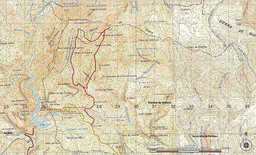 Mapa ascensión Tozal de Guara del SITAR