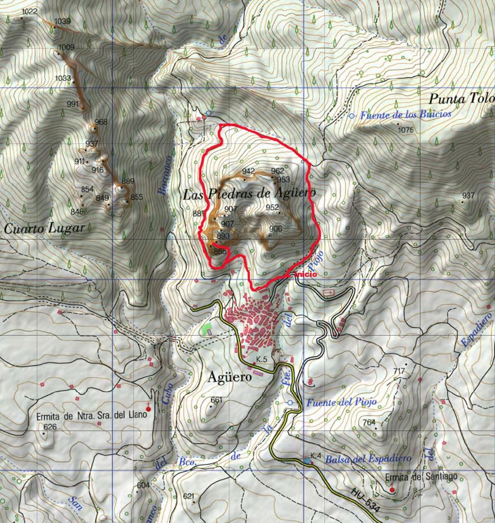 Ruta sobre mapa del I.G.N.