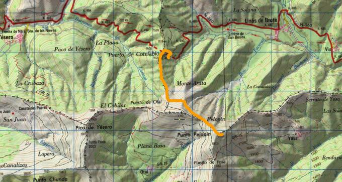 Mapa IGN ascensión a la punta Pelopin