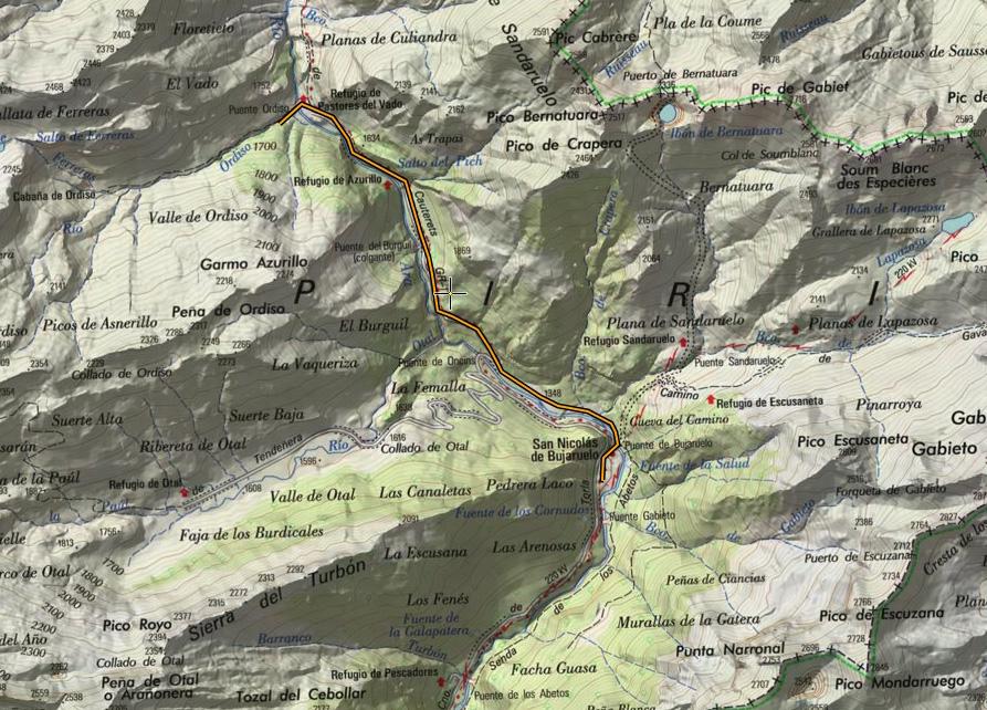 Ruta sobre mapa del IGN