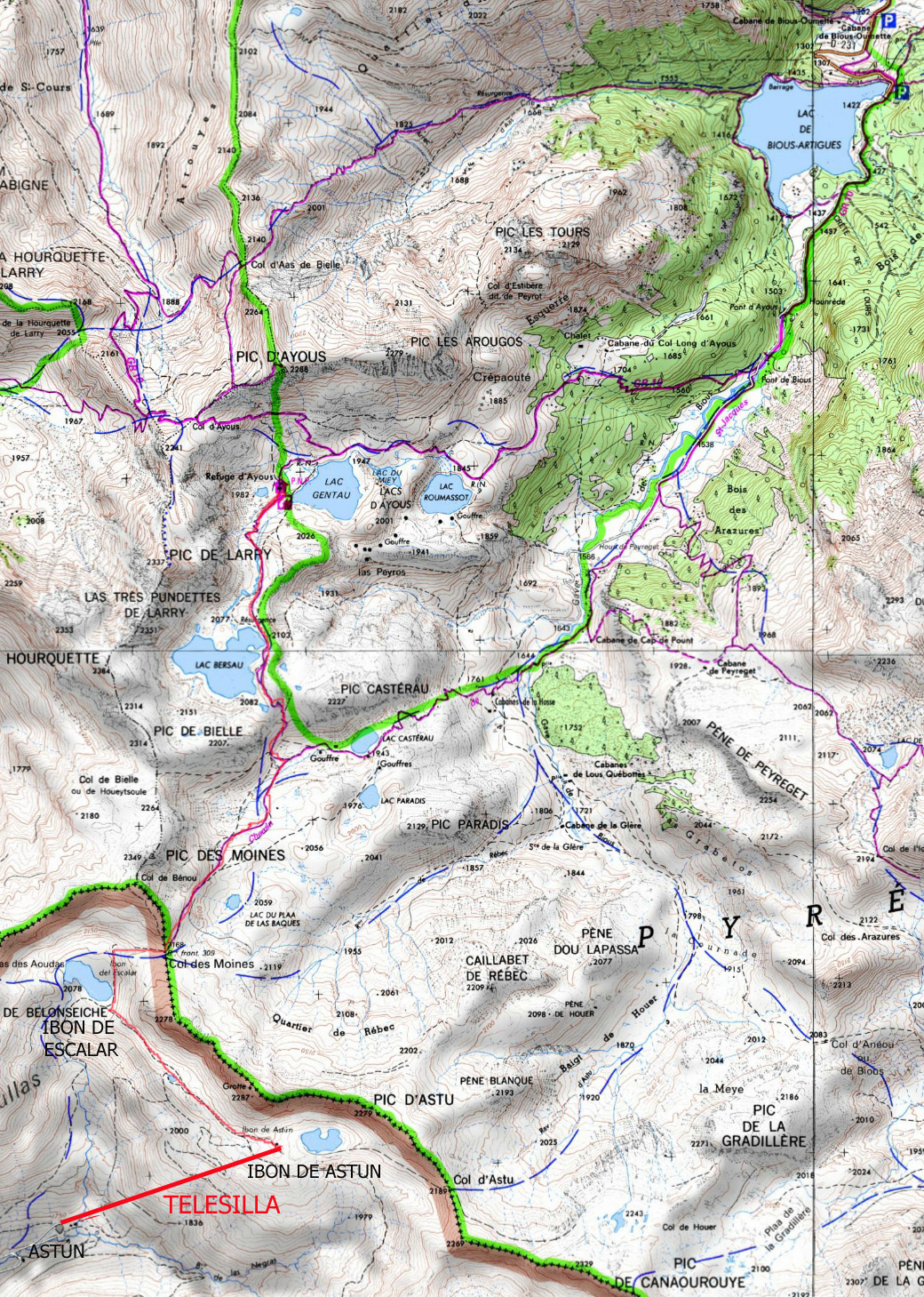 Mapa de la ruta sobre plano obtenido de Geoportail France