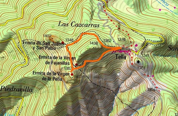Mapa Ermitas Tella