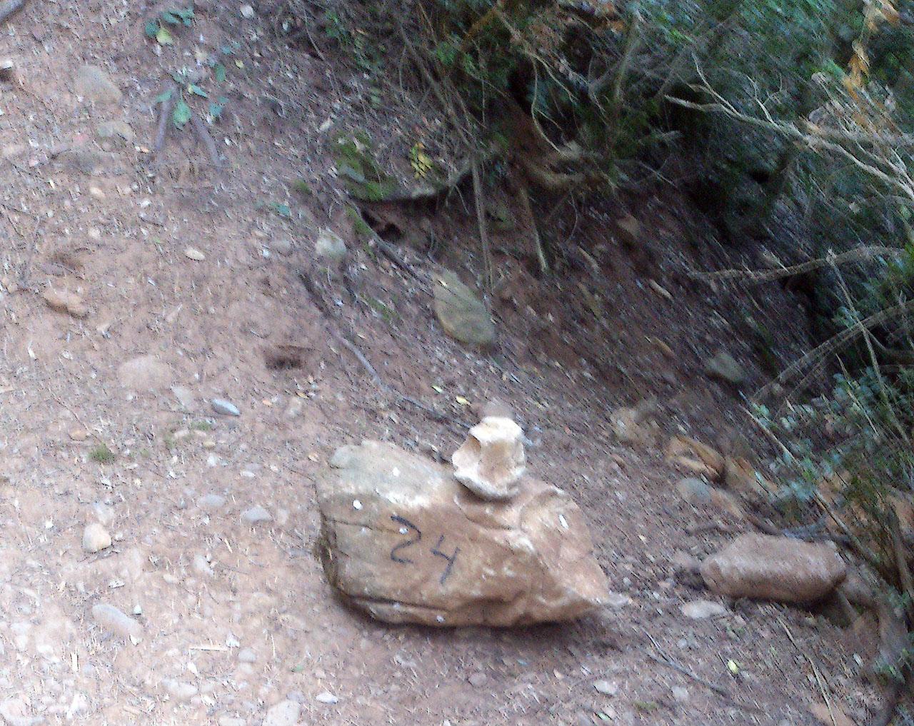 Piedra con indicación en el sendero