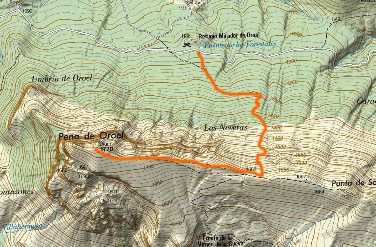 Peña Oroel Mapa IGN