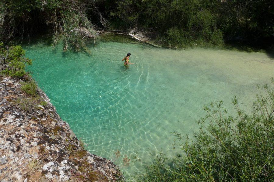 Poza en el río Vero en el entorno del Salto del Molino de Alquezar