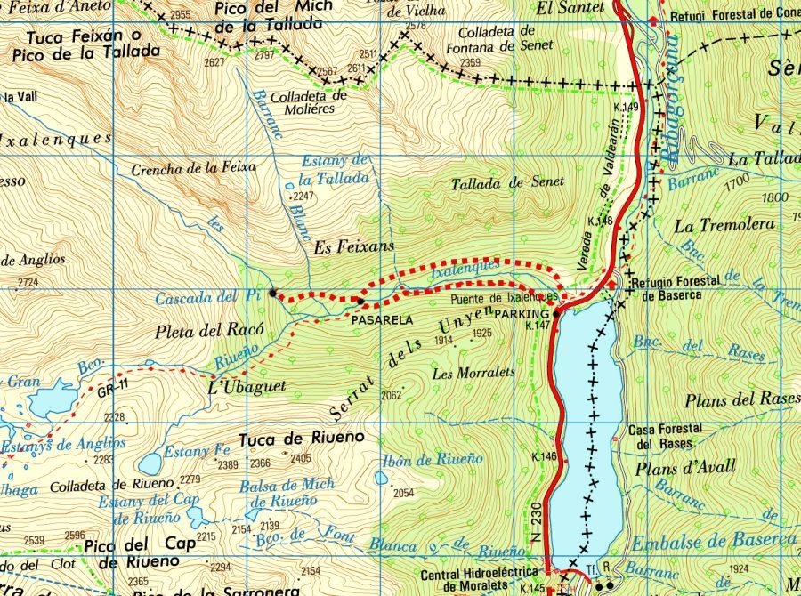 Ruta hayedo de Salenques y Cascada del Pi sobre mapa del I.G.N.