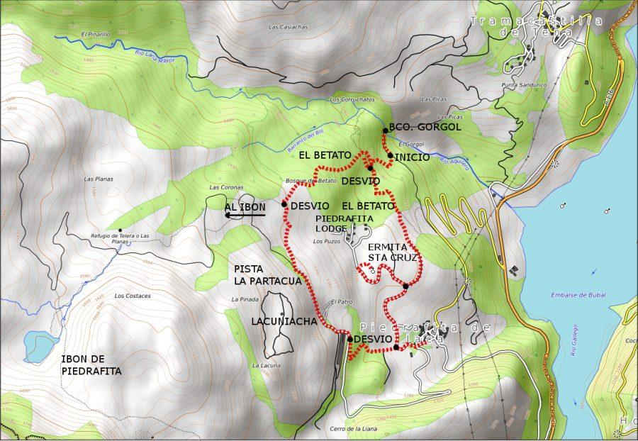 Itinerario sobre mapa topográfico. Fuente: Opentopomap