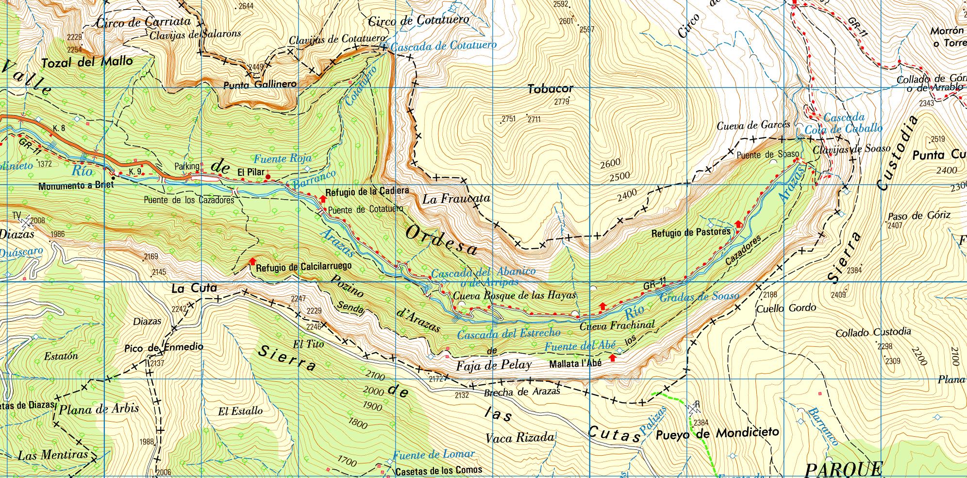 Mapa De Huesca Pirineos.Ordesa Cola De Caballo Excursiones Por Huesca