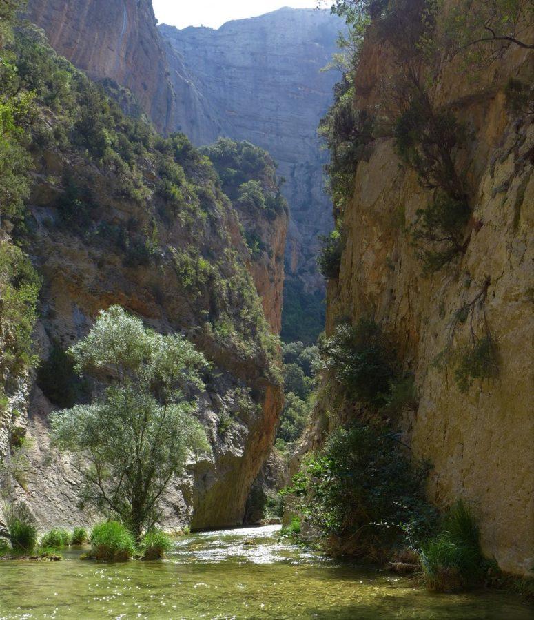 Tramo del río Flumen que es necesario remontar a pie por el cauce. Al fondo la imponente pared de piedra que conforma la Peña Men o de Aman