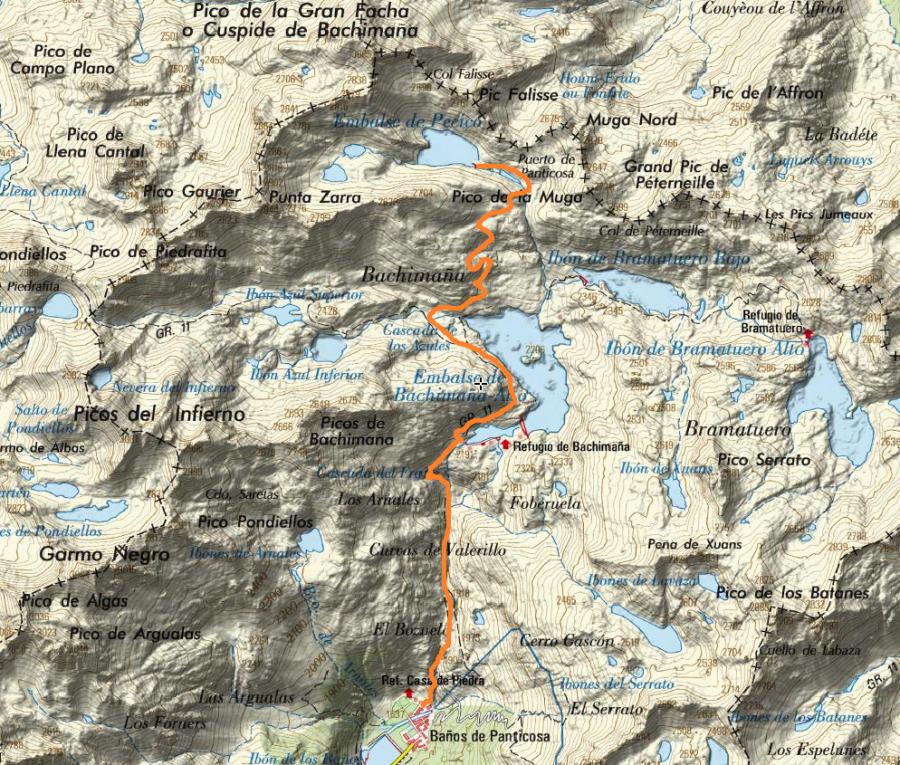 Ibones_Pecico-Mapa_orientativo_ruta_IGN