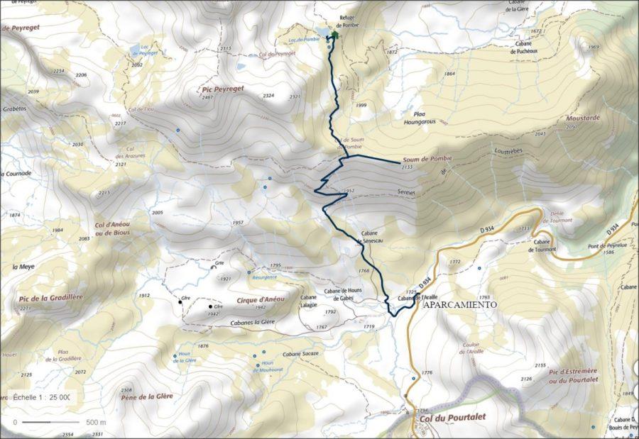 Ruta al Lac de Pombie sobre carta del IGN obtenido del Geoportail France.